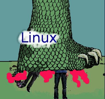 PC and Mac guy meet Linux Godzilla