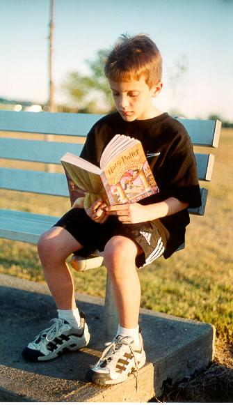 Nick reading Harry Potter.