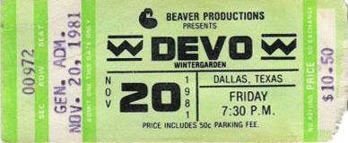 A ticket to Devo at the Wintergarden