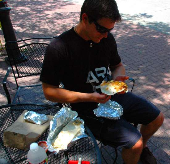 Lee getting ready to attack a breakfast taco