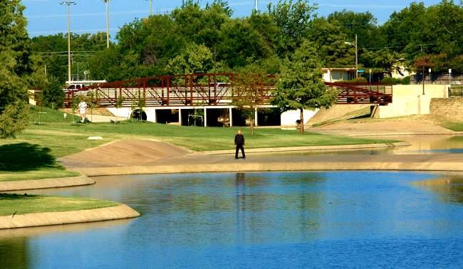 Man between the ponds