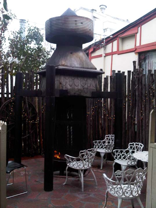 The odd fire pit outside at Babe's Chicken Dinner House in Carrollton, Texas.