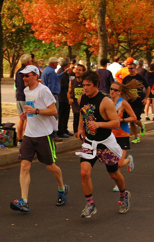 Lee near the finish of the eight mile course. Mardi Gras shirt and Tulane Boxers - worn on the outside.