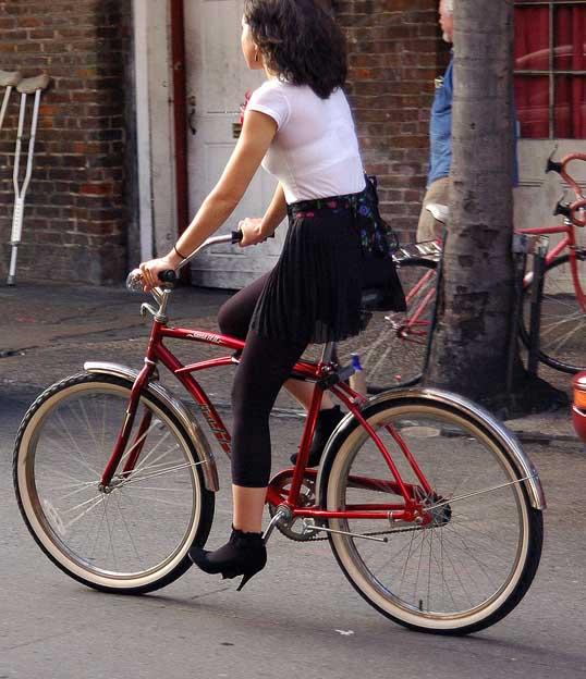 Stylish bike rider, French Quarter, New Orleans