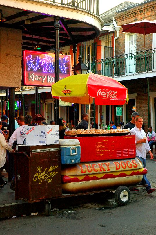 Lucky Dogs cart - Bourbon Street, French Quarter, New Orleans