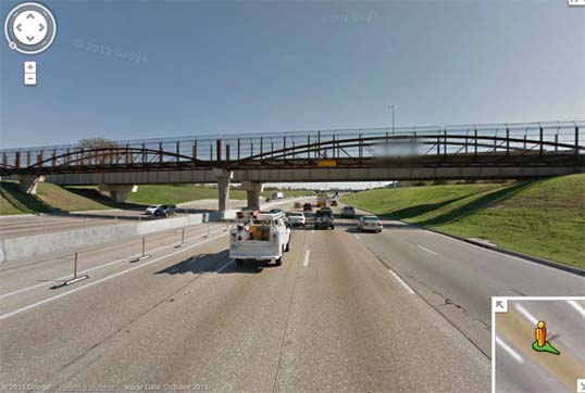 The pedestrian bridge over LBJ at the Skillman Dart station - photo from Googlemaps.