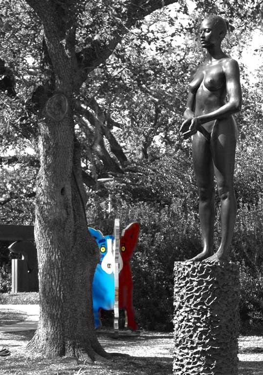 Source Figure, by Robert Graham, foreground, We Stand Together, George Rodrigue, background