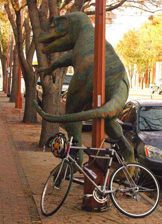 My bicycle locked up to the TRex in Exposition Park, Dallas, Texas