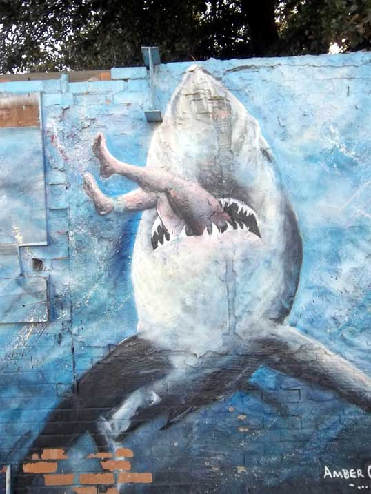 """A little way farther down the wall is """"Chomp"""", also by Amber Campagna"""