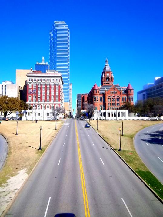 The view east down Main Street from the Triple Underpass. The sun will rise right down the middle of the street on April 19, morning Dallashenge.