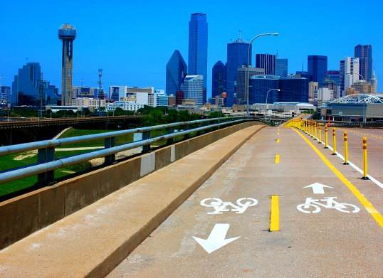 Bicycle Lanes on the Jefferson Viaduct from Oak Cliff into downtown, Dallas.