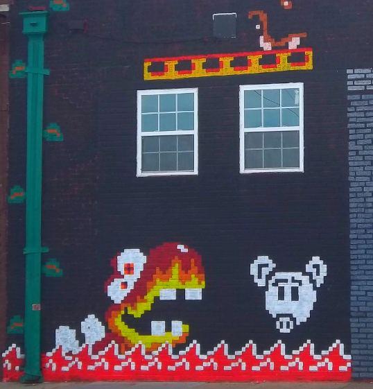 Old School Video game inspired graffiti, Deep Ellum, Dallas, Texas
