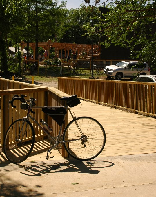 The new bridge from the Santa Fe trail into The Lot