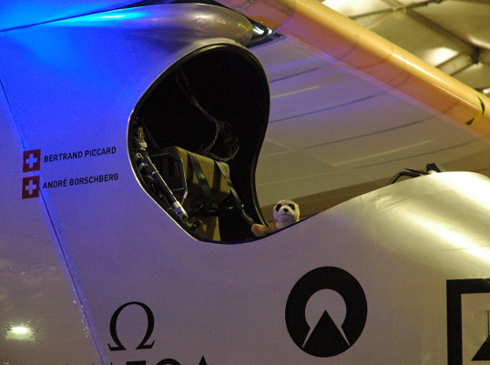 Little guy hanging out in the cockpit of the Solar Impulse