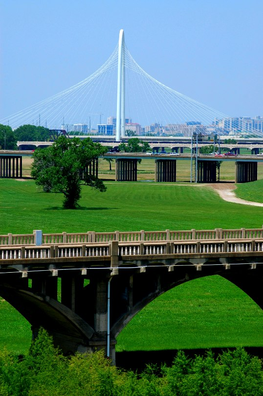 View from the high point of the Jefferson Viaduct Cycletrack, Trinity River, Dallas, Texas