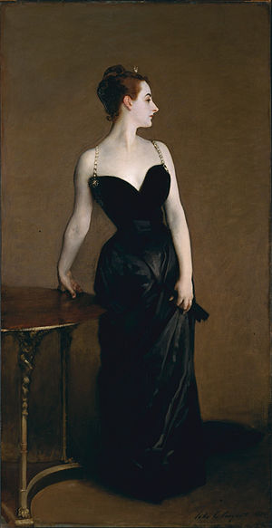 The repainted Madame X - her gown strap is back up on her shoulder.