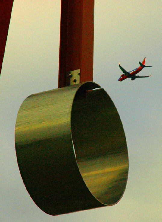 Proverb, by Mark di Suvero, and Southwest Airlines Jet, on approach to Love Field