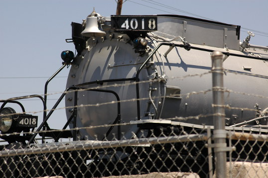 Big Boy 4018, behind the wire in Fair Park