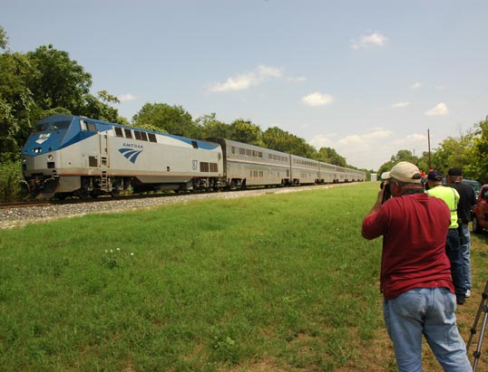 While we were waiting some other trains came by. All the folks on this Amtrack were looking out the windows wondering why everyone was standing there with cameras.