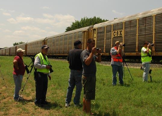 Train fans, waiting for Big Boy.
