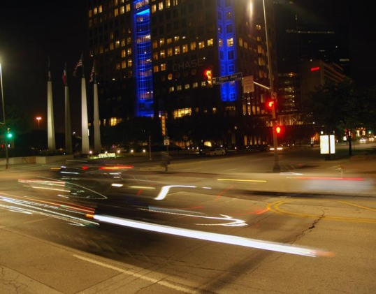 Time Exposure, Night, Downtown Dallas, Ross and Pearl