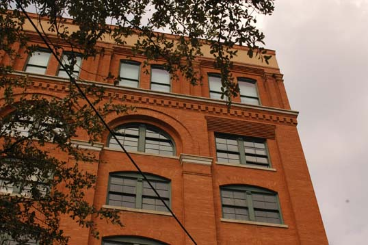 The Texas School Book Depository from Dealey Plaza.