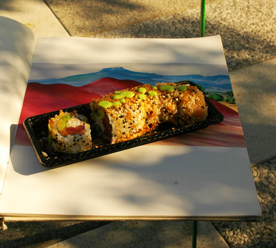 Crazy Fish Sushi Roll, and a Georgia O'Keeffe