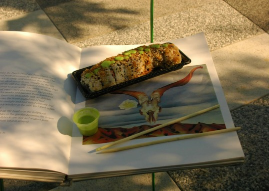 Crazy Fish Sushi and a book of Georgia O'Keeffe paintings (Click to Enlarge)