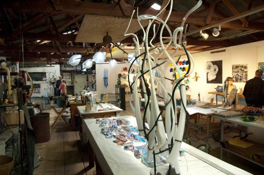 The showroom at Bowman Hot Glass. A lot of beautiful work here. (click to enlarge)