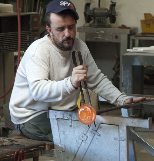 Making a pumpkin at Bowman Hot Glass