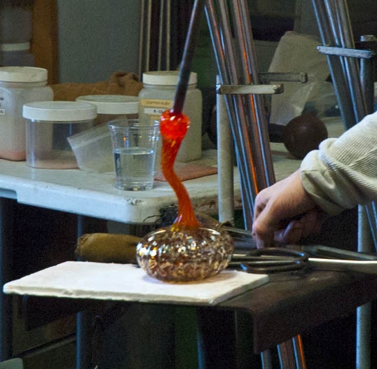 Putting the stem on the pumpkin. Bowman Hot Glass