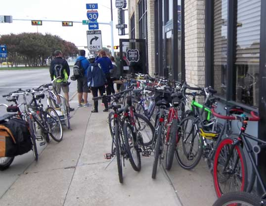 Bicycles outside Craft and Growler, Fair Park, Dallas, Texas