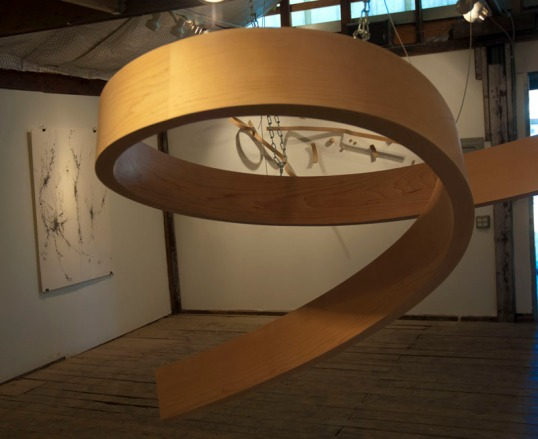Bent wood sculpture in progress, by Clark Maxwell. (click to enlarge)