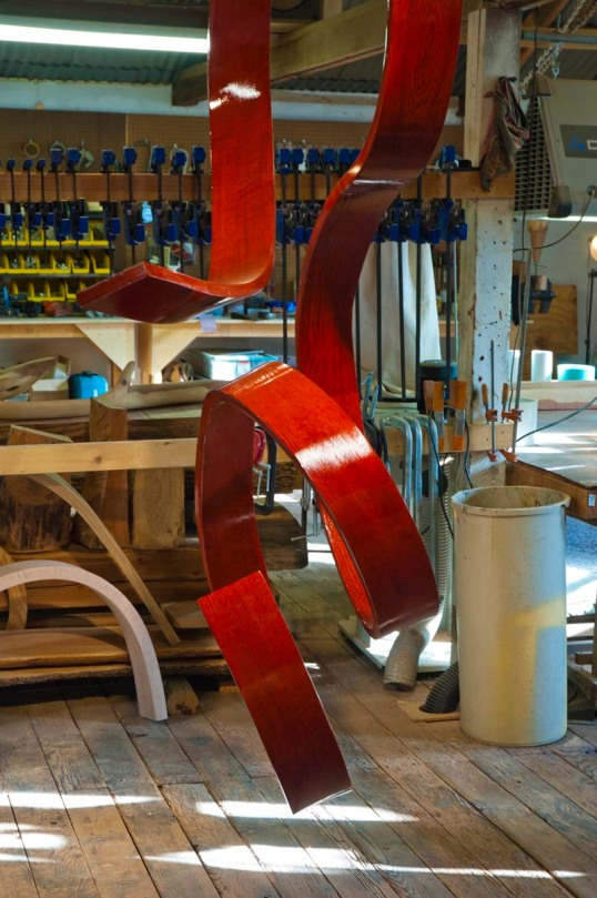 Bent wood sculpture in progress, by Rick Maxwell.  (click to enlarge)