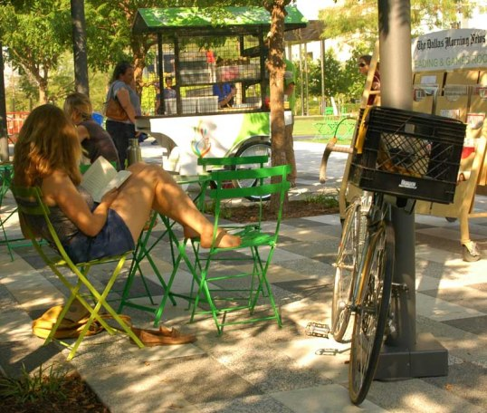 Milk Crate Bike in the reading area in Klyde Warren Park.
