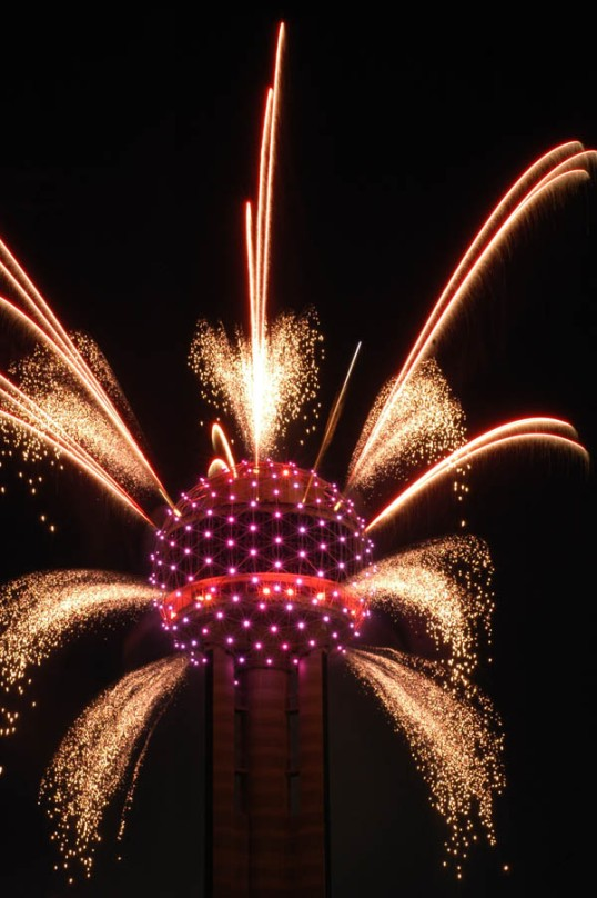 Fireworks from Reunion Tower, Dallas, Texas (click to enlarge)