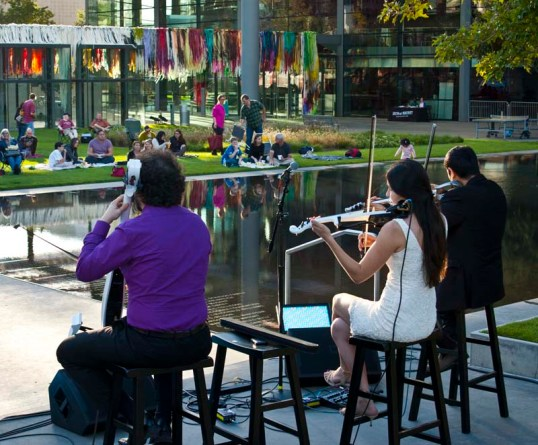 Dallas String Quartet, in front of the reflecting pool in the Arts District