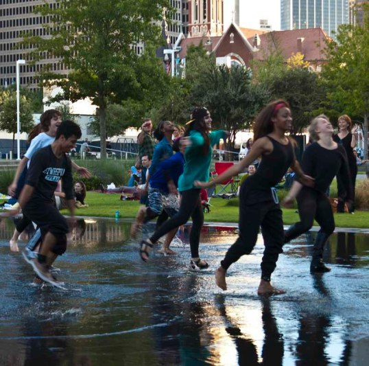 Young dancers on the reflecting pool at the Dallas String Quartet concert.