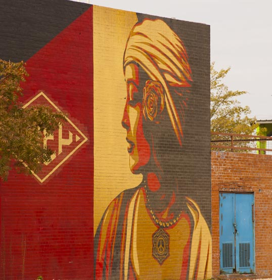 Shepard Fairey mural at Trinity Groves.