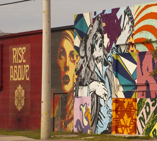 Murals by FAILE and Shepard Fairey, Trinity Groves, Dallas, Texas.
