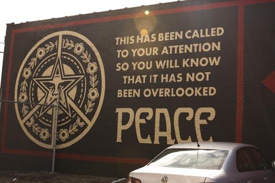Shepard Fairey mural at the Dallas Contemporary.