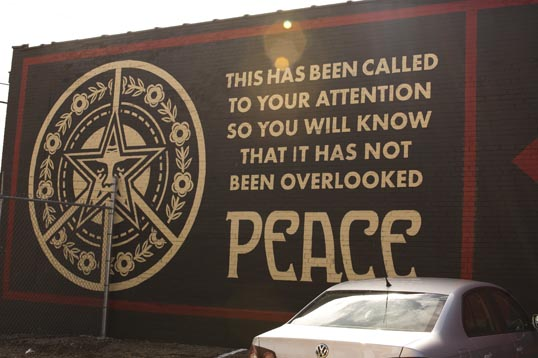 Shepard Fairey mural at the Dallas Contemporary.