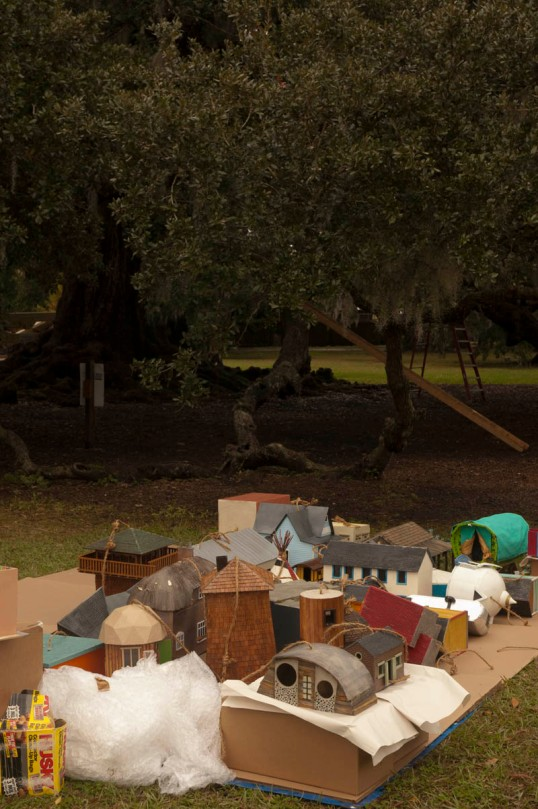 Birdhouses waiting to be installed, Audubon Park, New Orleans (click to enlarge)