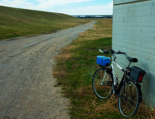My commuter bike along the gravel road in the Trinity River Bottoms (click to enlarge)