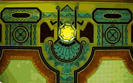 Abstract Art Deco design in the T&P Waiting Room ceiling, modified in Adobe Illustrator. (click to enlarge)