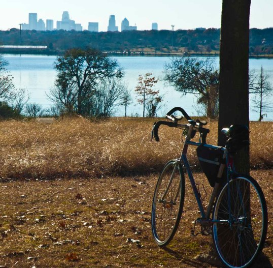 My Technium on Winfrey Point, White Rock Lake. Dallas, Texas. Look carefully and you can see a guy on a unicycle. (click to enlarge)