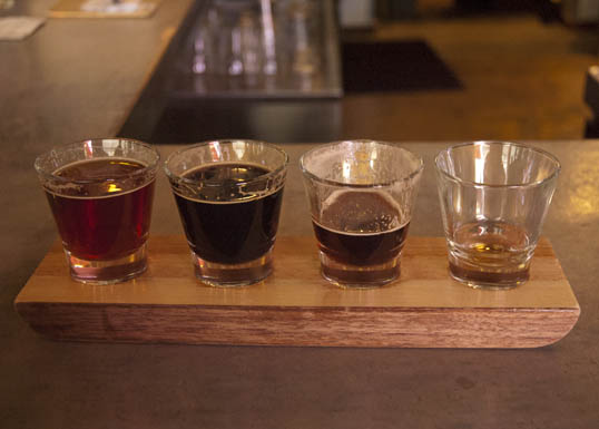 Heavy Hitter beer flight at Luck, in Trinity Groves, Dallas, Texas