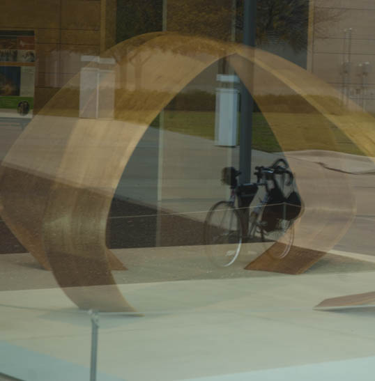 My Raleigh Technium road bike reflected in the window outside X,  UTD, Richardson, Texas