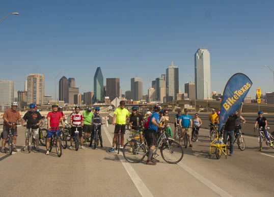 Bike Texas group on the bridge, with the Dallas skyline in the background. (click for full size version on Flickr)