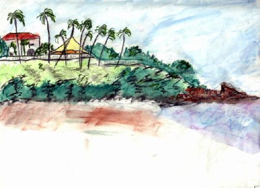 A sketch of the Casino at Montelimar, Nicaragua - once Somoza's beach house.